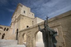 statue of Pope Benedict XVI next to the Sanctuary of Santa Maria di Leuca, Salento, Apulia, Italy stock photo