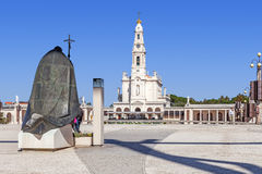 Statue of Pope John Paul II with Our Lady of the Rosary Basilica in background Royalty Free Stock Photos