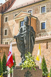 Statue of Pope John Paul II on Wawel in Krakow Stock Image