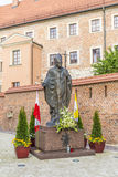 Statue of Pope John Paul II on Wawel in Krakow Stock Photography