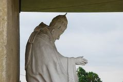 Statue of Pope John XXIII. Marble statue of Pope John XXIII, Angelo Roncalli, in the dedicated sanctuary - Sotto il Monte Giovanni XXIII, Bergamo, Lombardy Stock Photography