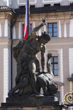 Statue on the portal from castle in Prague Stock Photos