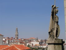 Statue - Porto. A view of Porto in front of the cathedral, Portugal Royalty Free Stock Photography