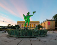 Statue of Poseidon an early morning in Gothenburg, Sweden. Royalty Free Stock Photography