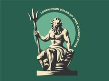 Statue of Poseidon or Neptune with a trident. stock illustration
