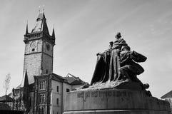 Statue in Prague. Jan Hus Memorial at the city square in Prague Stock Photos