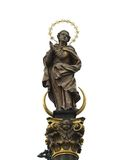 Statue of Prayer woman with golden aureola Stock Images