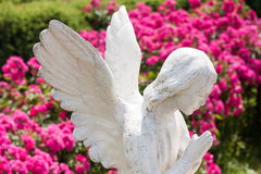 Statue of a praying angel on a background of blurred flowers. Tranquil Scene of Woman angel statue at the blurred background Stock Image