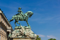 Statue of Prince Eugene of Savoy in Budapest Hungary. Statue of Prince Eugene of Savoy in the court of Buda castle in Budapest Hungary Royalty Free Stock Images