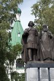 Statue of Prince George Vsevolodovich and Saint Simon of Suzdal, the founders of Nizhny Novgorod in the Kremlin grounds royalty free stock photos