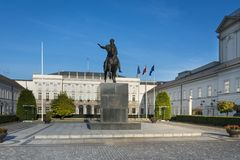 Statue of Prince Jozef Poniatowsk in Warsaw, Poland. Statue of Prince Jozef Poniatowsk on courtyard of Presidential Palace in Warsaw, Poland Stock Images