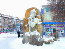 Statue of Prince Volodymyr. Winter .Ukraine. Boryspil. sculpture on the main street Royalty Free Stock Photography
