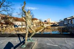 Statue of Prometheus on Butchers` bridge over river Ljubljanica,. Ljubljana. A sculpture of Prometheus by famous Slovenian sculptor Jakov Brdar on bridge with Stock Photography