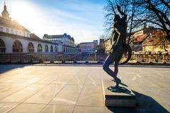 Statue of Prometheus on Butchers` bridge over river Ljubljanica,. Ljubljana. A sculpture of Prometheus by famous Slovenian sculptor Jakov Brdar on bridge with Royalty Free Stock Photo