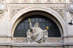 Statue of prudence on the BNP building in Paris Royalty Free Stock Photos