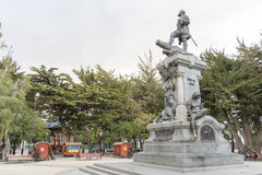 Statue in Punta Arenas. Punta Arenas is a commune and the capital city of Chile's southernmost region, Magallanes and Antartica Chilena. The city was officially Royalty Free Stock Photography