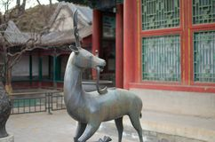 A Statue Of A Qilin Standing Before The Summer Palace In Beijing Stock Image