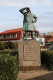 Statue on the quay in Hoek van Holland for all fallen on sea. For all seaman who never came back stock images