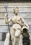 Statue of Queen Amphitrite. the Queen of Atlantis and wife of King Neptune,the King of Atlantis - captured in Piazza Emile Chanoux. Aosta, Italy - Feb 17, 2018 stock photography
