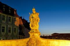 Statue of Queen Kunegunde. Night shot of the statue of Queen Kunegunde Stock Images
