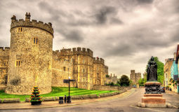Statue of Queen Victoria and walls of Windsor Castle Royalty Free Stock Photo