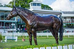 Statue of Racehorse at Garrison Savannah in Barbados. Racehorse statue on show for horse racing fans Royalty Free Stock Images