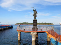 Statue of Rajiv Gandhi. Statue of Late Rajiv Gandhi (Youngest Indian Prime Minister from 1984 to 1989) at water sports complex with Ross Island in background Royalty Free Stock Images