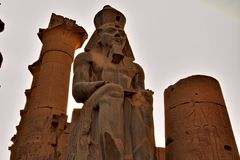 Statue of Ramses at Luxor Temple. Royalty Free Stock Photos