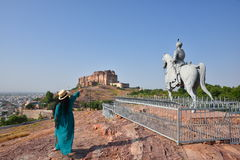 Statue of Rao Jodha and Majestic Mehrangarh Fort located in Jodhpur, Rajasthan, is one of the largest forts in India. Stock Images