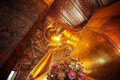 Statue of the Reclining Buddha inside the Wat Pho temple. Stock Images