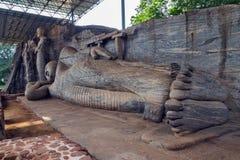 Statue Recumbent Buddha Temple Stock Photo