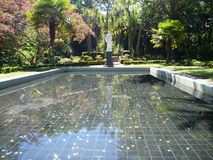 Statue reflected in a pool in a botanical garden Royalty Free Stock Photography