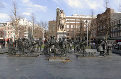 Statue of Rembrandt and the Night watch Stock Photos