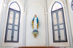 A statue representing the Virgin Mary. Our Lady of Nativity Cathedral , The Church of the Virgin Mary of Asanawihan Maephrabangkerd, Samut Songkhram stock images