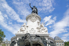 Statue of the Republic surrounded by clouds (Paris, France) Stock Photo