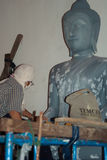 Statue restore, Thailand. Restoration at work . Bangkok, Thailand Royalty Free Stock Photo