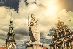 A statue of Riga patron saint - St Roland. Royalty Free Stock Images