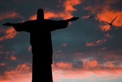 Statue in rio de janeiro. At sunset Royalty Free Stock Photo