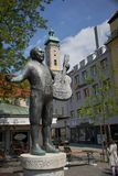 Statue of roider jackel on the viktualienmarkt in munich Germany. It is a daily food market and a square in the center stock image