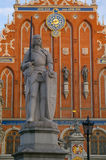 Statue of Roland. In the town hall square in Riga Latvia stock photo