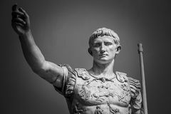 Statue of Roman Emperor Augustus. On the via dei Fori Imperiali Royalty Free Stock Images