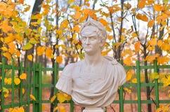Statue of roman emperor Nero in Summer Garden. Statue of Nero Claudius Caesar Augustus Germanicus in Summer Garden at evening, St.Petersburg, Russia royalty free stock image