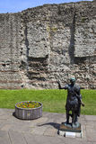 Statue of Roman Emperor Trajan and Remains of London Wall Stock Photos