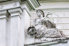 Statue of roman goddess Victoria or greek Nike in the palace and park complex Manor Tarnowski, s.Kachanovka, Ukraine. Royalty Free Stock Images