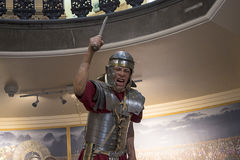 Statue of Roman legionary with his Gladus or short sword in Chester England Royalty Free Stock Photo