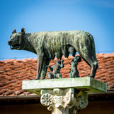 Statue of Romulus, Remus and Capitoline wolf Stock Images