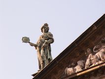 Statue on roof Royalty Free Stock Photography