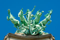 Statue on the roof of Grand Palais, Paris Royalty Free Stock Photography