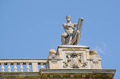 Statue on roof of Museum of Ethnography in Budapest, Hungary. BUDAPEST, HUNGARY - JUNE 14, 2016: Statue on roof of Museum of Ethnography in Budapest, Hungary Stock Photography