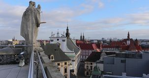 The statue on the roof. Of University in Wroclaw, Poland stock footage